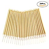24 Count Birthday Party Long Thin Cake Candles Metallic Birthday Candles in Holders for Birthday Cakes Decorations, Gold by Lucky Party