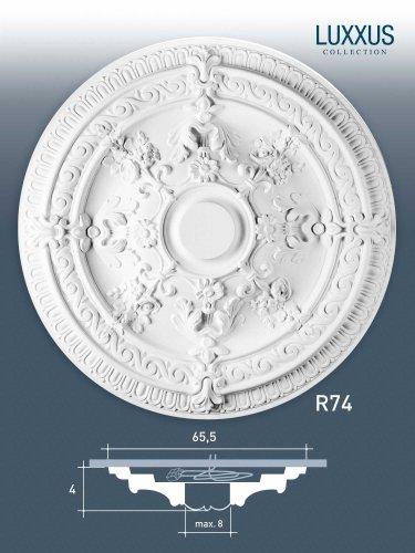 (ORAC R74 Ceiling Rose Rosette Medallion Centre polyurethane decorative white   65,5 cm = 25 inch diameter)