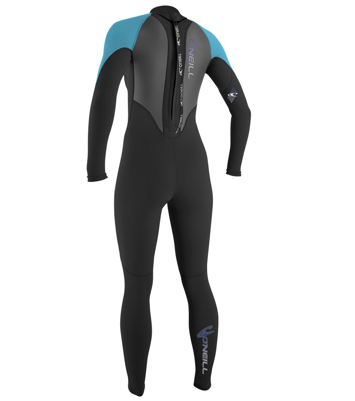 O'Neill  Women's Reactor 3/2mm Back Zip Full Wetsuit, Black/Turquoise/Black,4 by O'Neill Wetsuits (Image #2)