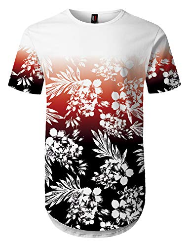 UrbanMax Mens Streetwear Hipster Floral Printed Longline for sale  Delivered anywhere in USA