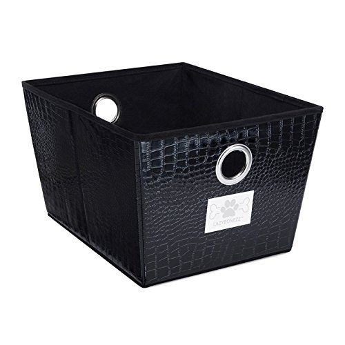 Patent Croc Black (LazyBonezz Patent Croc Embossed Pet Storage Bin For Dog and Cat Toys, Black)