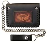 Long Horn Chain Wallet Trifold Tooled Texas Steer Mens Boys Biker Motorcycle Wallet