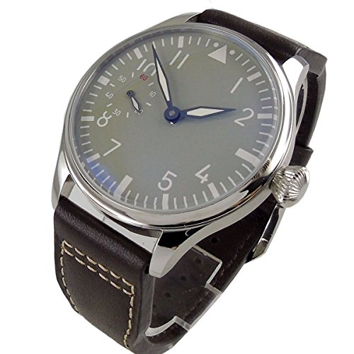 Parnis 44mm Grey Dial Polished Case Luminous Pointer 17 Jewels 6497 Hand Winding Movement Men's Watch ()