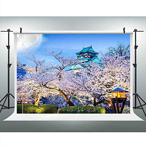 LUCKSTY 9x6ft Sakura Photography Backdrop Japanese Blue Architecture Under Moon Background Tourist Attractions Photo Booth Studio Props -
