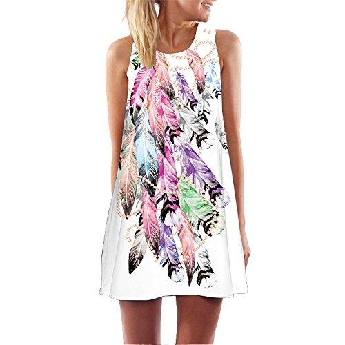 iLUGU O-Neck Sleeveless Mini Dress for Women Floral Print Long Blouse Dress Shoes for Men