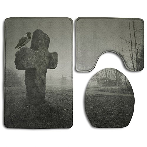 HEI Scary Background For Halloween Old Grave With A Cross And The Raven Comfortable