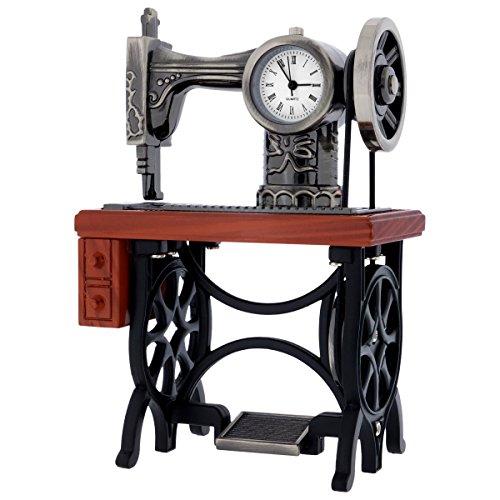 Antique Sewing Machine Collectors Replica Gift Desktop Mini Clock