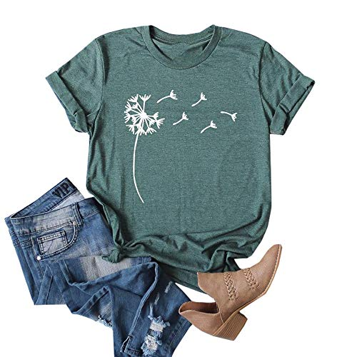 Cicy Bell Womens Dandelion Print T Shirts Cute Graphic Tees Short Sleeve Summer Cotton Tee Tops