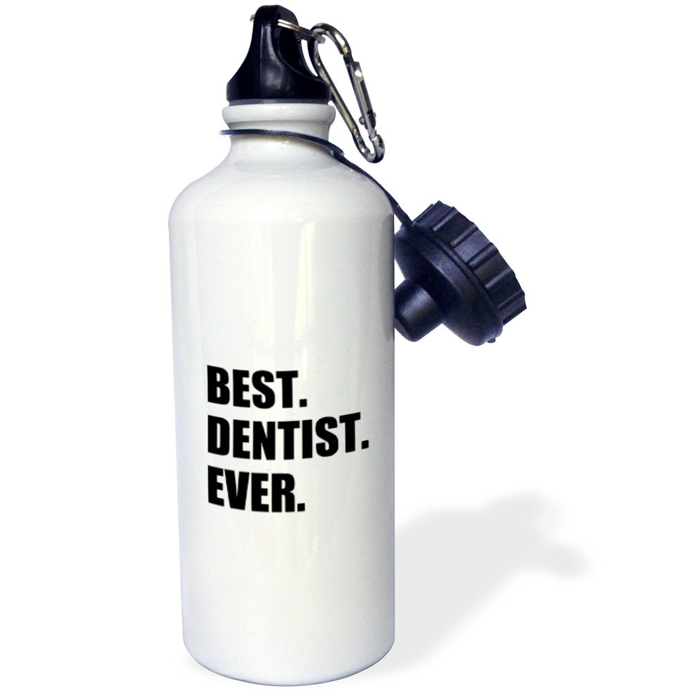 3dRose wb_179773_1'' Best Dentist Ever - fun job pride gifts for dentistry career work Sports Water Bottle, 21 oz, Multicolor