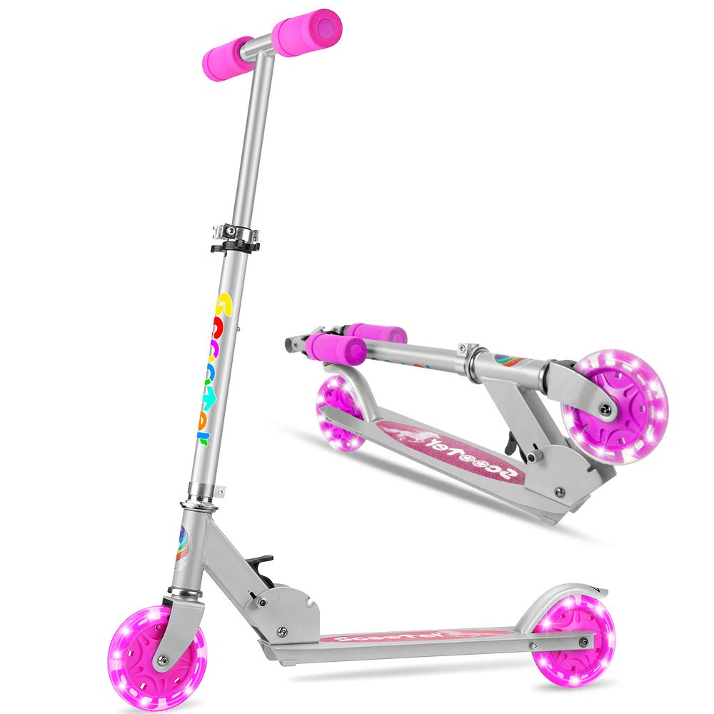OUTON K2 Folding Kick Scooter 2 Wheel Kids Scooter, 3 Adjustable Height, LED Light Up Wheels Scooter for Kids Ages 4 to 15 Purple