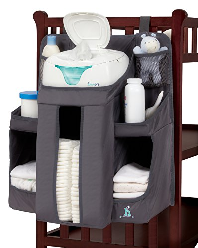 Image of the hiccapop Nursery Organizer and Baby Diaper Caddy | Hanging Diaper Organization Storage for Baby Essentials | Hang on Crib, Changing Table Or Wall