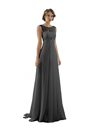 JinXuanYa Womens Long Lace Chiffon Bridesmaid Dresses Prom Party Evening Dress(UK2, Black)