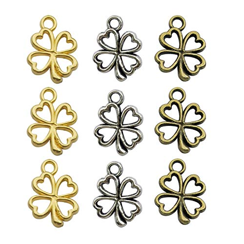 120pcs Craft Supplies Mixed Gold Plated Antique Silver Bronze Four Leaf Clover Charms Pendants for Crafting, Jewelry Making Accessory for DIY Necklace Bracelet - Plated Antique Gold Charms