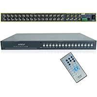 Wiseup™ 16Ch Real time Video Multiplexer Motion Detection CCTV Security Video Quad Processor with Remote Control