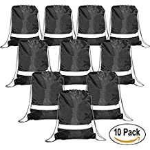 BeeGreen Drawstring Backpack Bags Reflective 10 Pack, Promotional Sport Gym Sack Cinch Bags