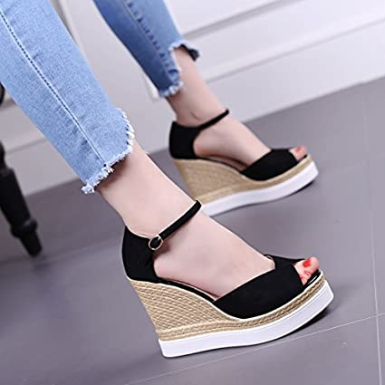 226521b224 GTVERNH Women'S/Ladies/Fashion/Summer/One Buckle Sloping Sandals  Comfortable Thick Bottomed Waterproof Platform 11Cm High Heel Shoes Summer  Wild Fish Fish ...