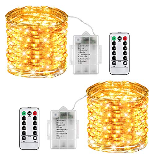 LED String Lights, 8 Modes Copper Wire Fairy Christmas Light with Remote Control, 33ft/10M 100LEDs, Soothing Décoration for Your Home & Bedroom Patio, Weddings, Parties Waterproof- 2 Pack