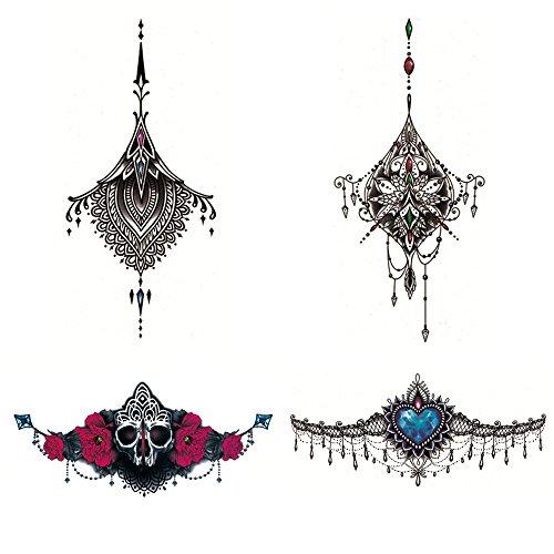 4 x deardeer temporary tattoo beauty jewelry design body art for women female for women chest. Black Bedroom Furniture Sets. Home Design Ideas