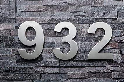 QT Num/éro de Maison Moderne facile /à installer et fait de solides 304 EXTRA GRAND 25.4 Centim/ètre Aspect flottant Num/éro 1 Un Acier inoxydable bross/é