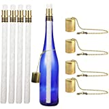 EricX Light Wine Bottle Tiki Torch Kit 4 Pack, Includes 4 Long Life Tiki Torch Wicks,Brass Tiki Torch Wick Holders and Brass Caps - Just Add Bottle for an Outdoor Wine Bottle Light
