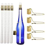 EricX Light Wine Bottle Torch Kit 4 Pack, Includes 4 Long Life Torch Wicks ,Brass Torch Wick Holders And Brass Caps - Just Add Bottle for an Outdoor Wine Bottle Torch