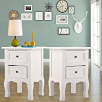 New MTN-G Set of 2 Wood Bedroom Bedside Furniture Nightstand End Table W/2 Drawers White