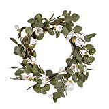 FAVOWREATH Fall Series FAVO-W122 Handmade 15 inch White Lily,Hello Letter,Laurel/Eucalyptus Leaf,Grapevine Wreath for Festival Front Door/Wall/Fireplace Every Day Nearly Natural Home Hanger Decor