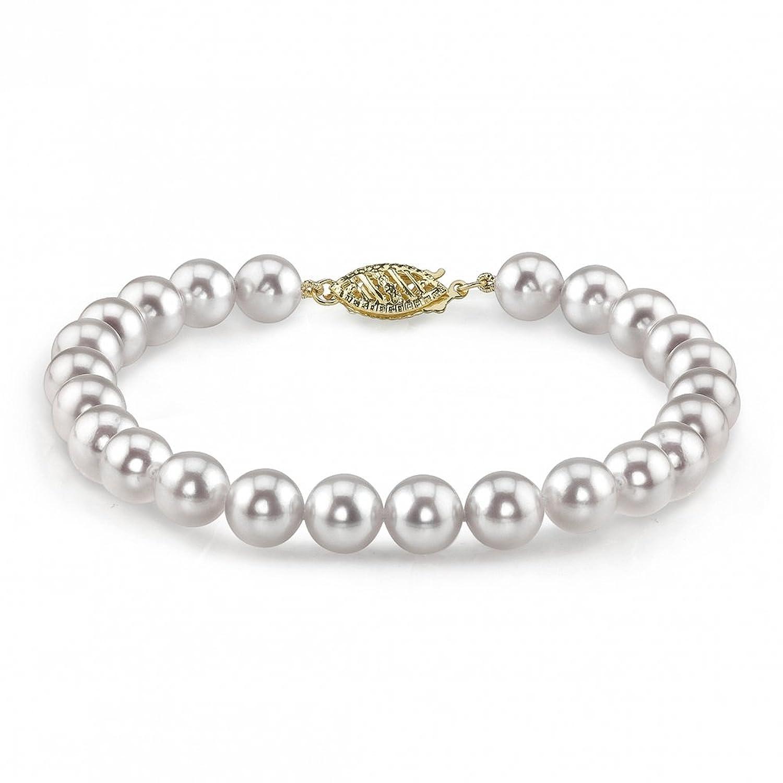 14K Gold 6.0-6.5mm Japanese Akoya White Cultured Pearl Bracelet