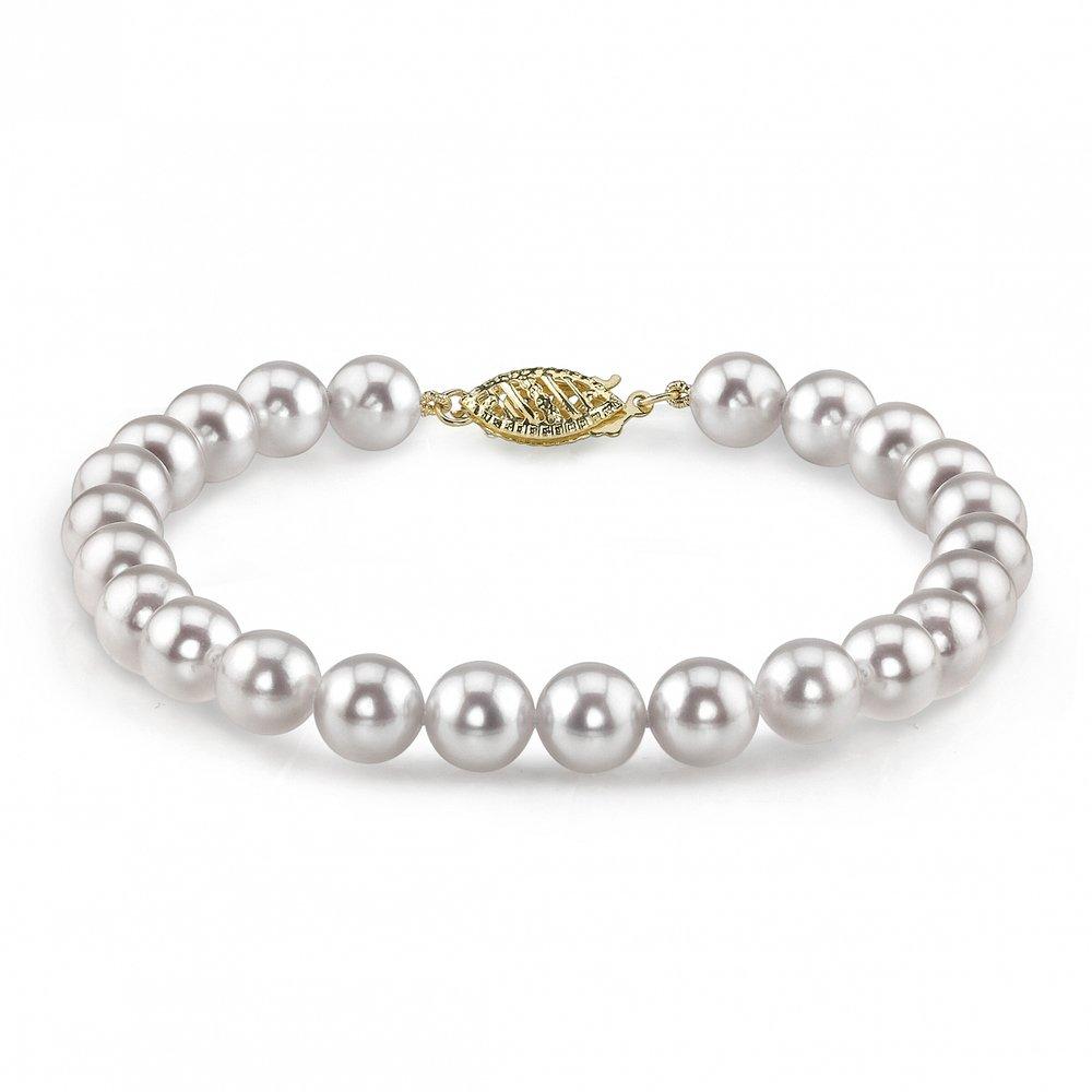 14K Gold 6.0-6.5mm Japanese Akoya Saltwater White Cultured Pearl Bracelet