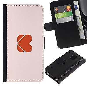 Paccase / Billetera de Cuero Caso del tirón Titular de la tarjeta Carcasa Funda para - Love the world - Samsung Galaxy S5 V SM-G900