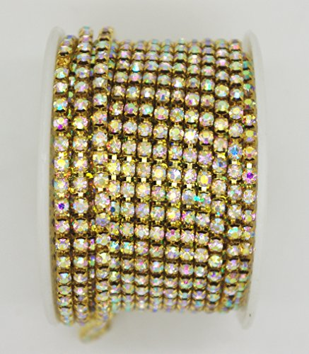 10 Yard Crystal AB Rhinestone Close Chain Clear Trim Sewing Craft (3mm, Gold)