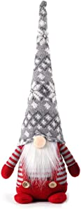 Santa Claus Christmas Gnomes Plush Scandinavian Swedish Tomte Figurines and Tree Decoration (red and White Striped Outfit, 16.5in)