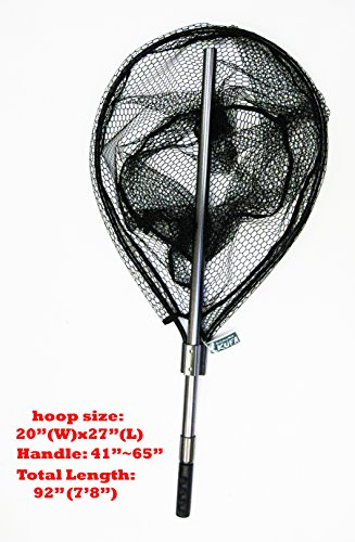 (KUFA SPORTS FC7052 Retractable Aluminum Landing Net with Rubberized Mesh, 20 x 27/41-65