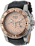 Invicta Men's 10901 Excursion Reserve Chronograph Rose Gold Tone Textured Dial Black Leather Watch, Watch Central