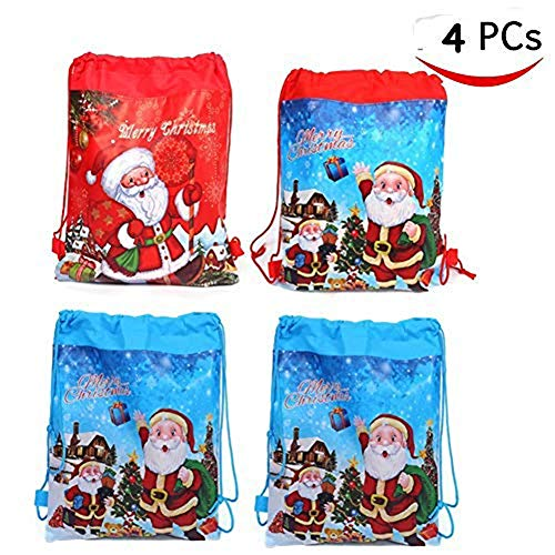 Bonaweite Christmas Drawstring Bags, Holiday Theme Party Travel Gift Pouch Bag