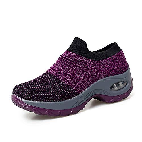 Escort Runners Women Slip On Walking Shoes Fashion Dance Sneakers Comfort Wedge Platform Loafers EAYYX01-W3-42 Purple