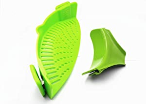 BULUSHI Clip-on Silicone Strainer with Slip-On Bowl Pour Spout Free for Draining Food While Cooking or Pouring Liquid, Universal Size Fits Most Pans Pots Bowlsgreen