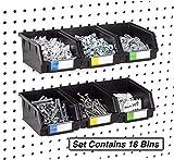 Pegboard Bins – 18 Pack Black Large - Hooks to