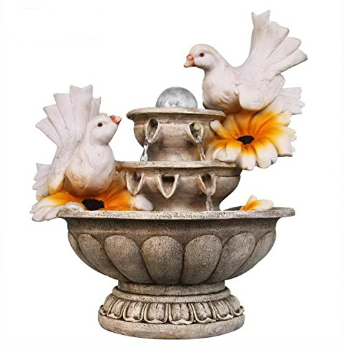 SINTECHNO SNF13162-4 Lovely Couple of Dove Resting on 3-Tier European Sculpture Tabletop Water Fountain (Fountain Sculpture)