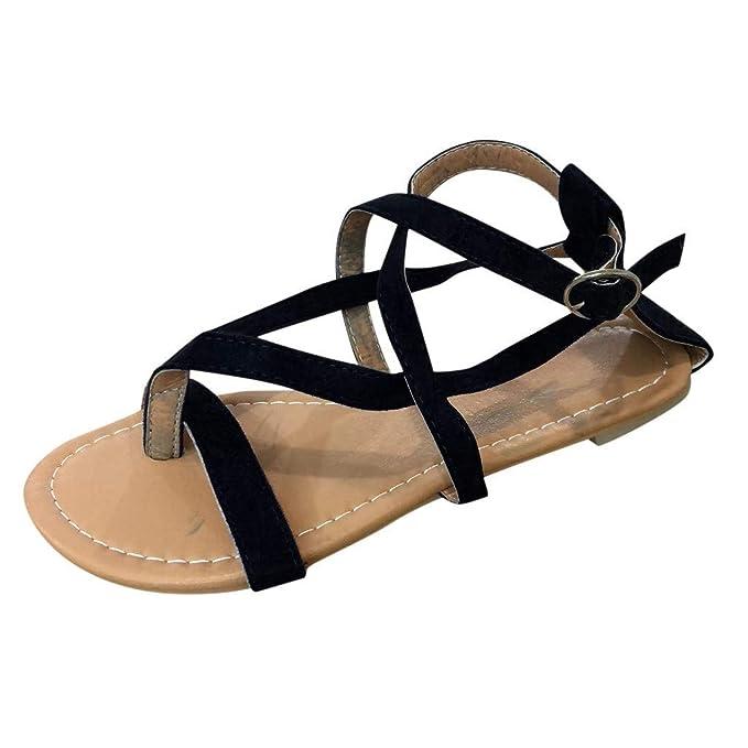 Sharemen Womens Strappy Sandals Gladiator Thong Ankle Strap Summer Beach Flat Sandals(Black,US