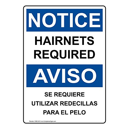 ComplianceSigns Plastic OSHA NOTICE Sign, 7 x 5 in. with Food Prep / Kitchen Safety Info in English + Spanish, White
