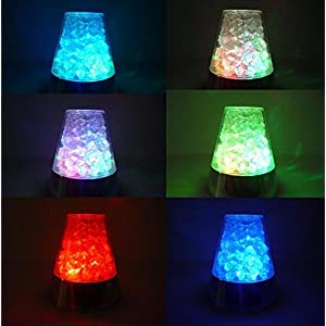 E&A Ice Fiber Optic Mood Novelty Lamps Lighting Glacier Lite with Color-Changing Crystals Base