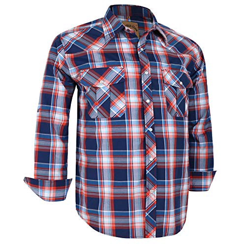Coevals Club Men's Long Sleeve Casual Western Plaid Snap Buttons Shirt (L, 15# Blue, Red)