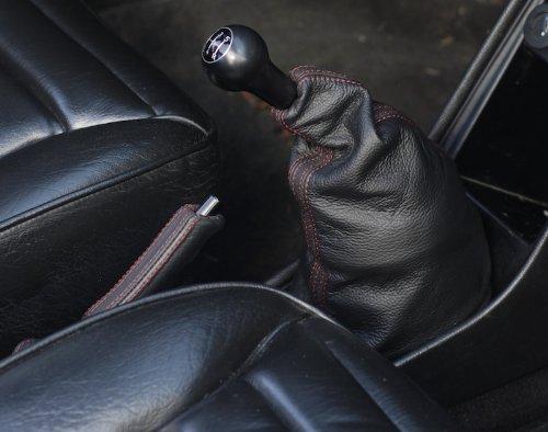 RedlineGoods Shift Boot Compatible with Porsche 911 Carrera 1984-89 Black Alcantara-Blue Thread