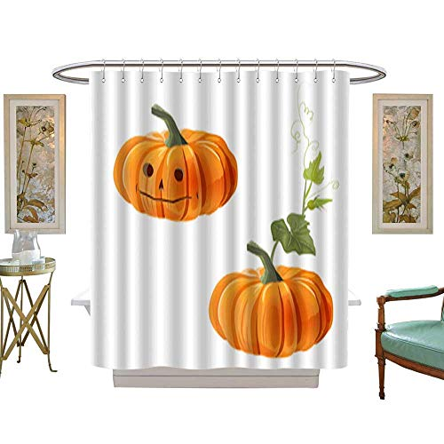 Shower Curtain Two orange pumpkins one with leaf and other with eyes nose and mouth on white background digital draw decorative illustration for autumn harvest festival or Halloween design vector. w