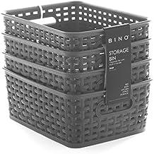 BINO Woven Plastic Storage Basket, Small – 4 PACK (Grey)