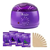 Wax Warmer, Hair Removal Waxing Kit, Zooson Electric Wax Heater with 4 Hard Wax Beans and 10 Wax Applicator Sticks (At Home Waxing Kit)