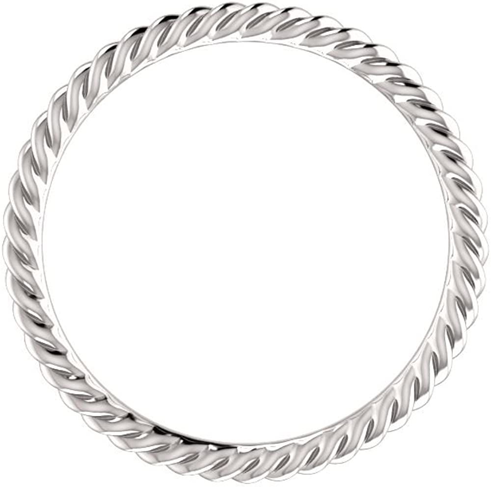 14K White Gold Skinny Rope Band Size 5.5