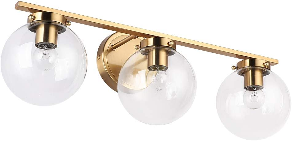Create for Life Copper Bathroom Light Fixtures, 3-Light Vanity Light Fixtures with Clear Glass,Brushed Light Fixture Bathroom Lighting