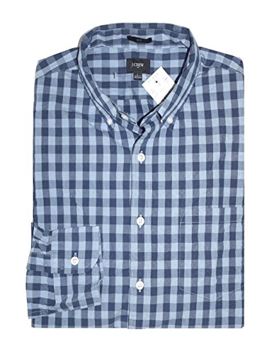 J Crew Factory - Men's Slim Fit - Navy Gingham Washed Cotton Shirt (Medium) from J.Crew